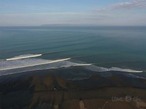 aerial view of the waves in Pavones, Costa Rica
