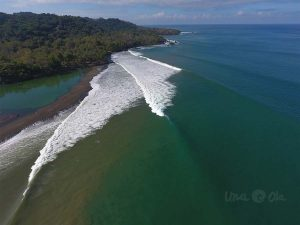 Waves at Pavones, Costa Rica from the air